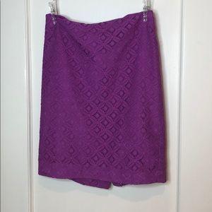 Ann Taylor Lilac Eyelet Pencil Skirt